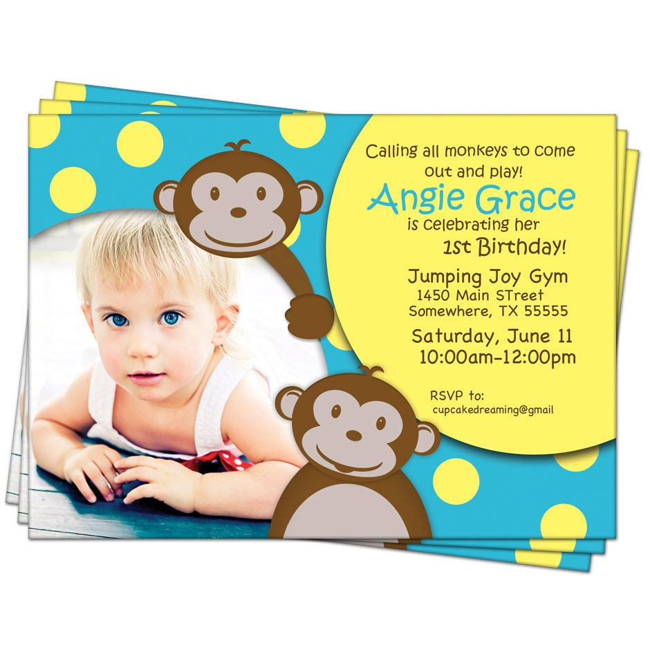 Monkey Birthday Invitations Jungle 1st First Kids By