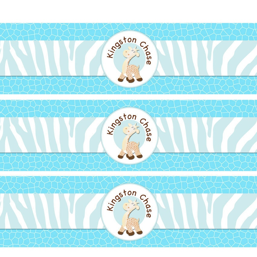 giraffe water bottle label diy baby shower by cupcakedream on etsy