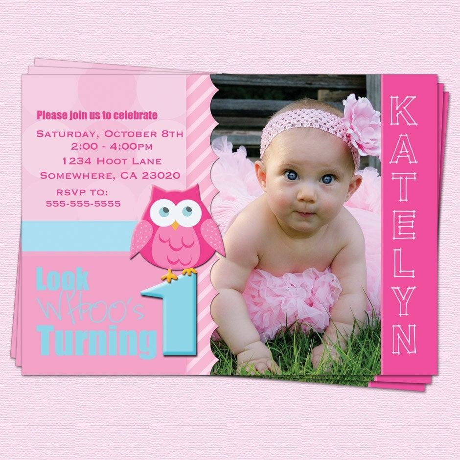 First Birthday Invitation Owl Birthday