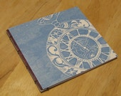 An Insomniac's Lament: 24 Letters for 24 Hours, hand bound zine with woodblock print covers, Blue and Burgundy
