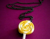 CLEARANCE, Lemonade Swirl Lollipop Necklace