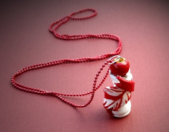 One of a kind, Twilight Saga Polymer Clay Pendant and Necklace