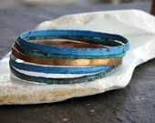 Patina bangle bracelets Set of 5