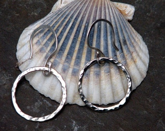 little sterling hammered circle earrings