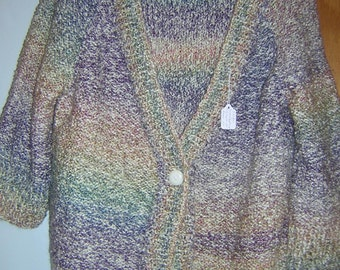 Handknitted Bulky  Ladies Button Cardigan