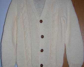 Hand Knitted Unisex Mens Womens Vneck  Button Cardigan