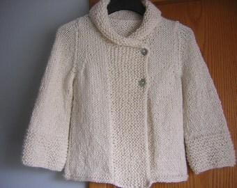 HandKnitted Womens Shawl Collar  Cardigan Jacket