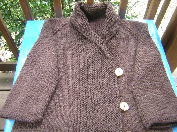 HandKnitted Womens 2 Button Shawl Collar  Cardigan Jacket