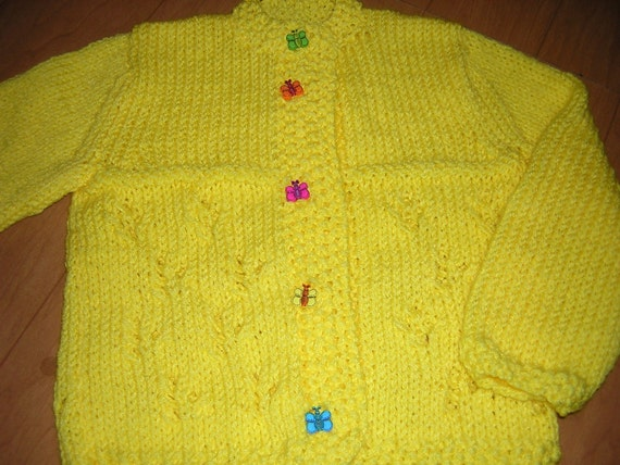 Hand Knitted Childs  Button Cardigan