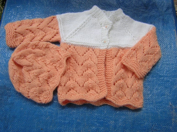 Hand Knitted Baby Girl  Sweater/Hat