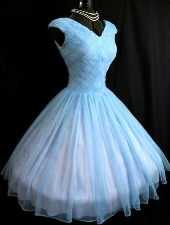 Vintage 50's Blue Ruched CHIFFON Party Prom Dress