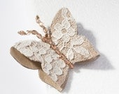 Beige metallic Leather and Ivory French Lace Butterfly Brooch