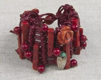 Red Burgundy Woven Leather  Bracelet OOAK