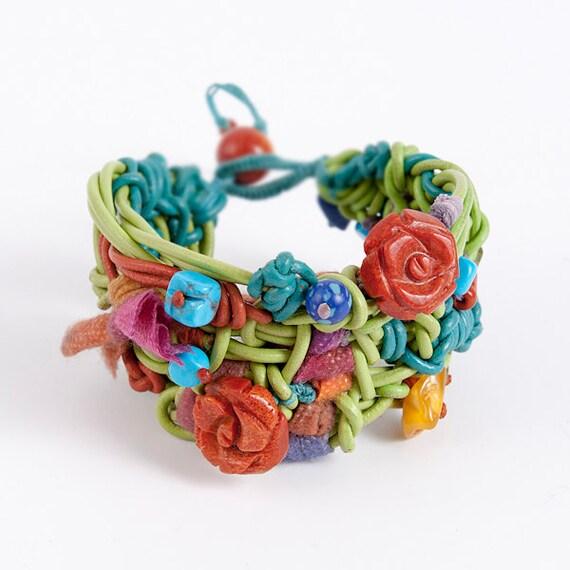 Multicolor Leather Bracelet with Semiprecious Stones