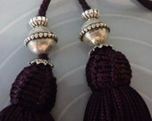 Moroccan beaded art silk belt, dark purple