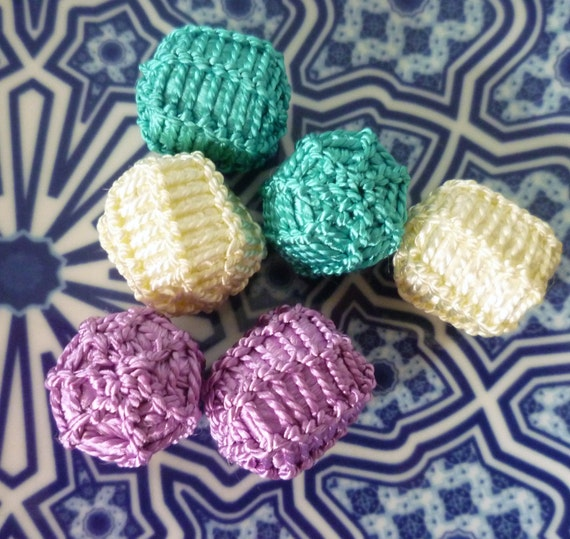 Moroccan large art silk beads, cream, turquoise and lilac