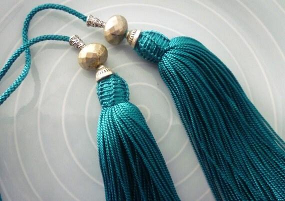 Moroccan beaded art silk belt, mid turquoise