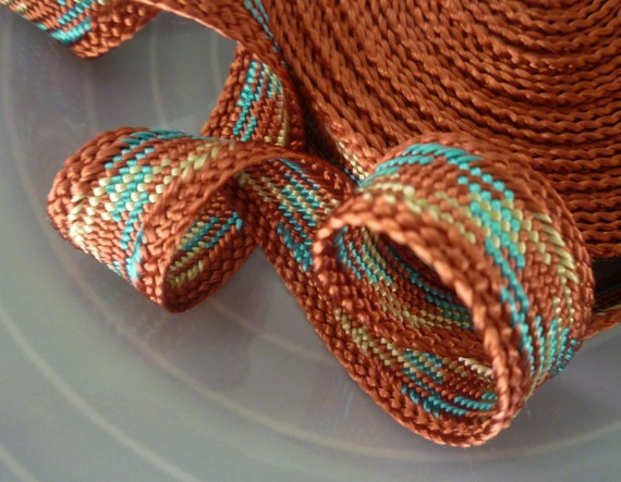Moroccan trim,  terracotta, light turquoise and pale yellow