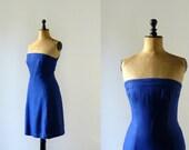 Vintage 1960s ultramarine blue strapless dress