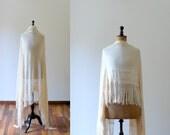 Vintage 1920s chiffon silk ivory piano shawl. wedding shawl