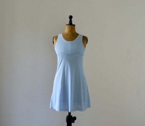 Vintage 1970s baby blue slip mini dress. negligee. lingerie
