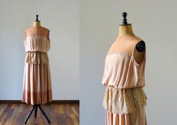 Vintage silk ecru and chestnut maxi dress with macramé lace peplum. maxi gown. floor length silk dress