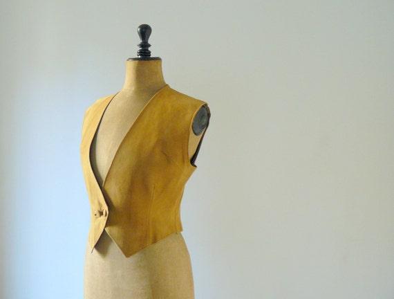 Vintage 1970s suede sand gilet. camel vest