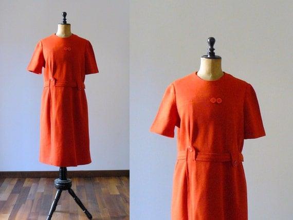Vintage 1960s mod deep orange belted dress