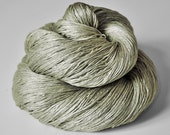 Dried green lichen OOAK - Silk Yarn Lace weight