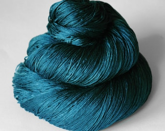 Kingfisher pushing up the daisies - Silk Lace Yarn - knotty skein