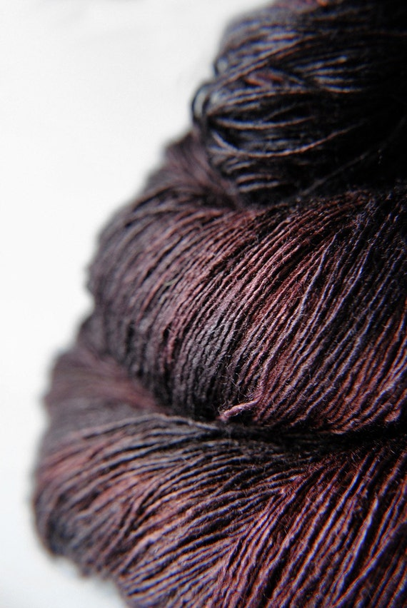 Chocolate cosmos ceasing to be - Tussah Silk Yarn Lace weight