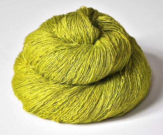 Blooming acorn OOAK - Tussah Silk Yarn Lace weight