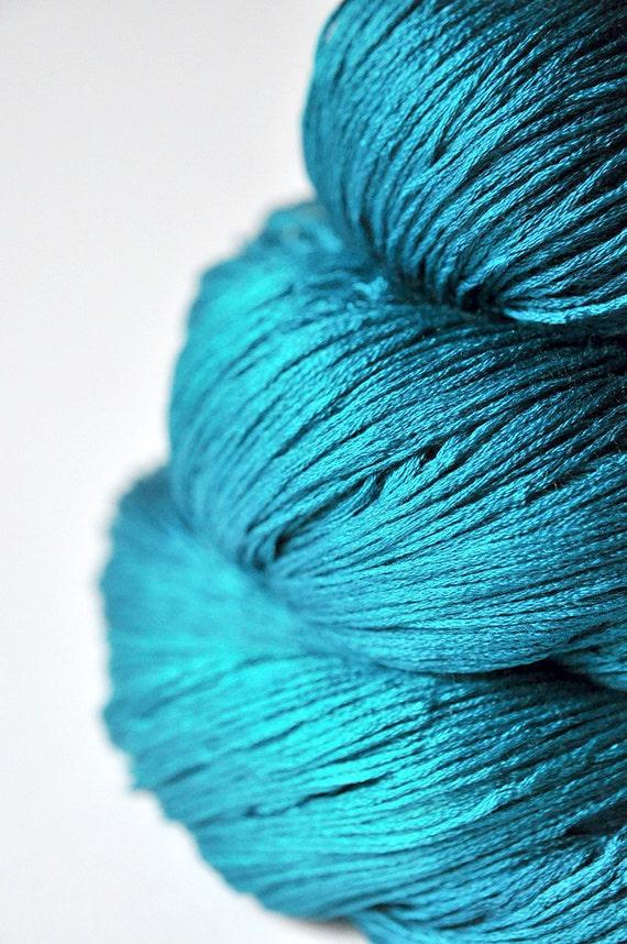 Turquoise sea swallowing an island - Silk Yarn Lace weight