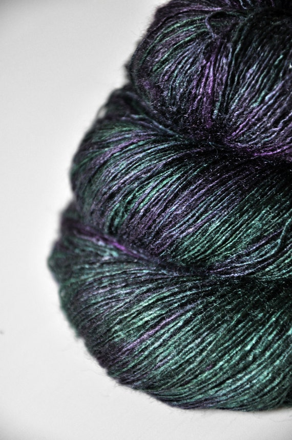 Unnatural wine leaf OOAK - Tussah Silk Yarn Lace weight