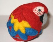 Red Macaw, nature inspired needle felted wool parrot ball