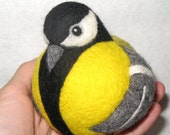 Great tit, nature inspired needle felted wool bird ball