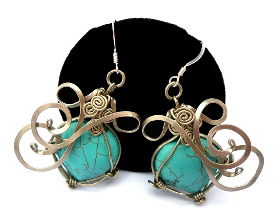 Wire Wrap Earrings with Heart Turquoise stone