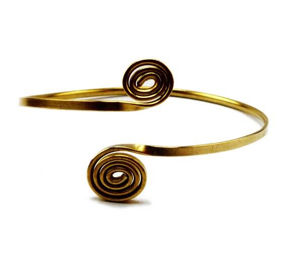 Wire Wrap Golden Brass Arm Bracelet