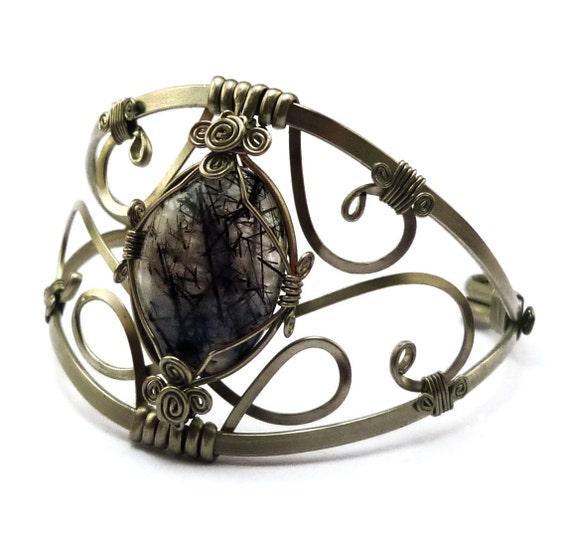 Wire Wrap Elgant Cuff Bracelet with Tourmaline Quartz