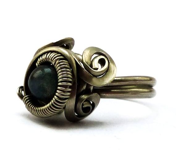 Steampunk Ring with Blue Labradorite