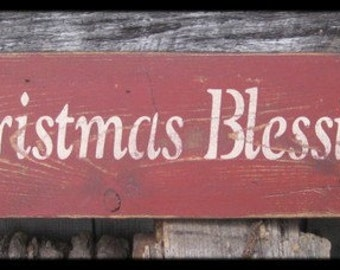 "Primitive Sign - ""Christmas Blessings"" - Several Colors Available"