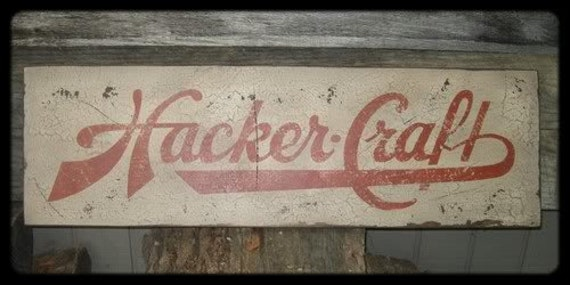 Vintage Hacker Craft Boats Trade Sign