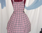 Pink Plaid School Girl jumper with removable bib