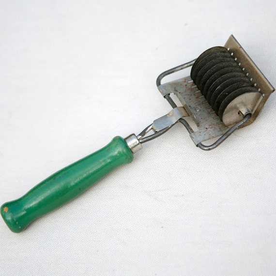 Vintage Pasta Cutter With Green Wood Handle
