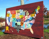 """Extra Large License Plate Map of the United States 60"""" x 40"""" USA"""