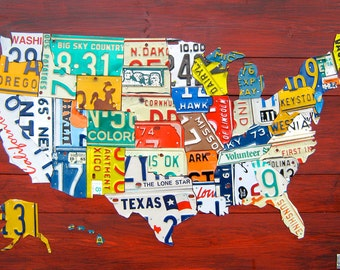 "Medium License Plate Map of the United States - 36"" x 24"" USA"