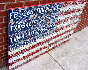 "License Plate Flag of The United States Metal Artwork - 60"" x 40"""