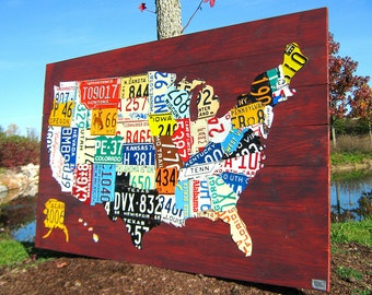 "Extra Large License Plate Map of the United States 60"" x 40"" USA"