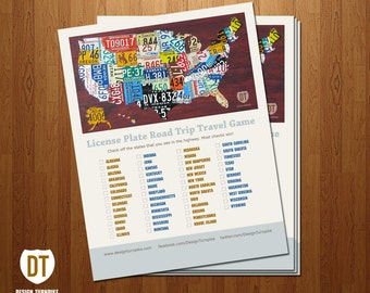License Plate Map Travel Game - Digital Print
