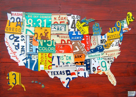 """Medium License Plate Map of the United States - 36"""" x 24"""" USA"""